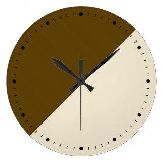Coffee And Cream Block Art Large Clock
