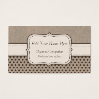 Coffee and Creams Grunge Polka Dots Pattern Business Card