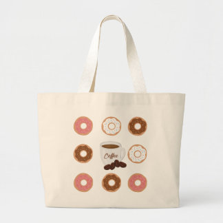 Coffee and Donuts Large Tote Bag