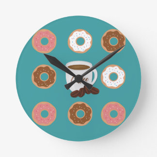 Coffee and Donuts Round Clock