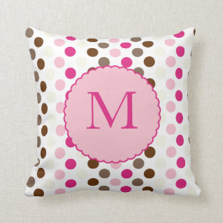 Coffee and Pink Colourful Polka Dots Pillow Cushion