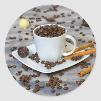 Coffee and spices classic round sticker