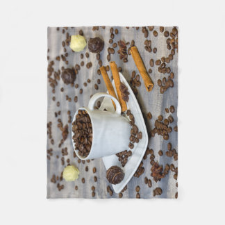 Coffee and spices fleece blanket
