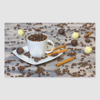Coffee and spices rectangular sticker