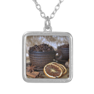 Coffee and Spices Silver Plated Necklace