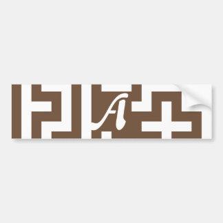 Coffee and White Maze Monogram Bumper Stickers