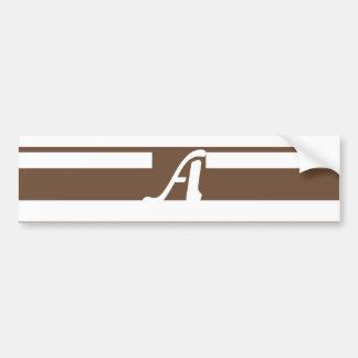 Coffee and White Random Stripes Monogram Bumper Sticker