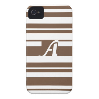Coffee and White Random Stripes Monogram iPhone 4 Case