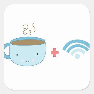 Coffee and Wifi Square Sticker