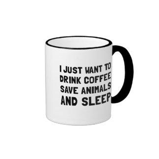 Coffee Animals Sleep Ringer Mug