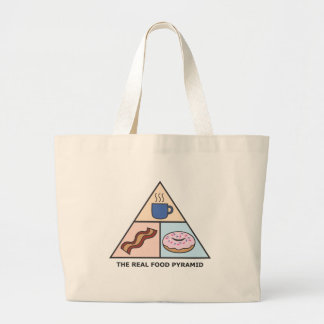 Coffee, Bacon & Donuts - The Real Food Pyramid Large Tote Bag