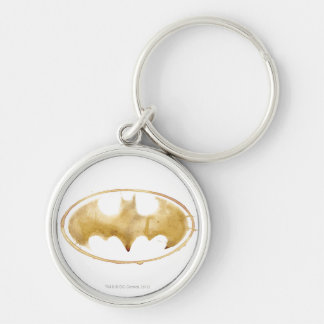 Coffee Bat Symbol Silver-Colored Round Key Ring