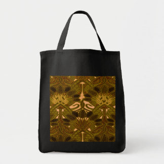 Coffee Bean and Flower Pattern Canvas Bag