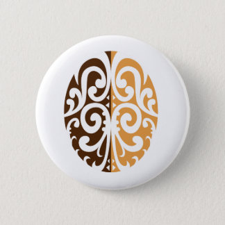 Coffee Bean with Maori Motif 6 Cm Round Badge