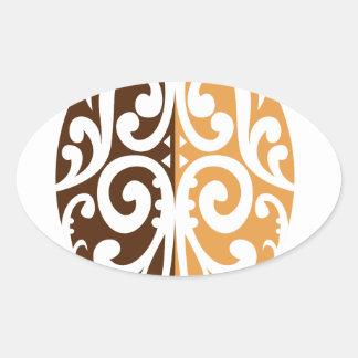 Coffee Bean with Maori Motif Oval Sticker