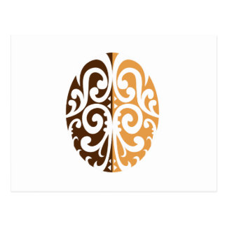 Coffee Bean with Maori Motif Postcard