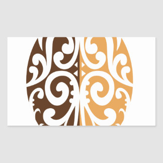 Coffee Bean with Maori Motif Rectangular Sticker