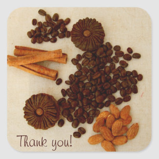 Coffee beans, almonds, cinnamon and cookies square sticker
