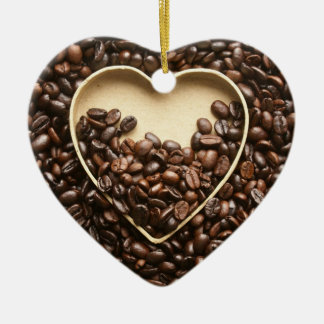 Coffee Beans and Heart Ceramic Ornament
