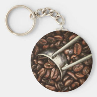 Coffee beans and metal scoop key ring