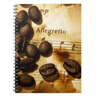Coffee Beans and Music Notes Notebook