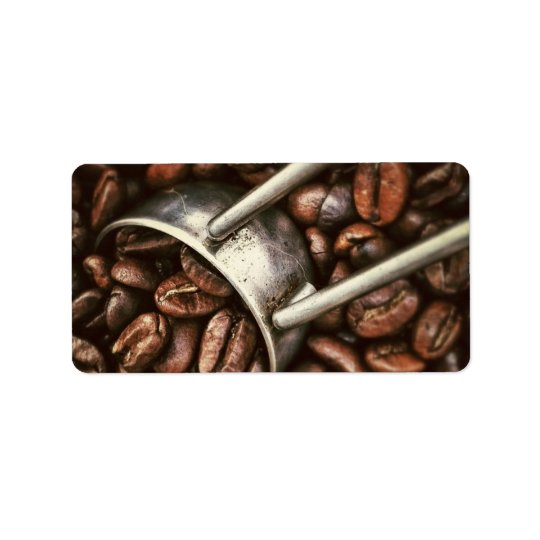 Coffee Beans and Scoop Label