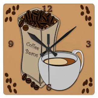 Coffee Beans Coffee Cup Design Wall Clocks
