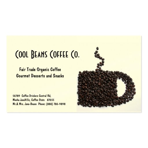 Coffee Beans Cup - Cool Beans! Business Card Template