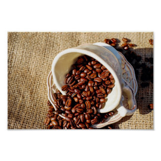 Coffee Beans in a cup Poster