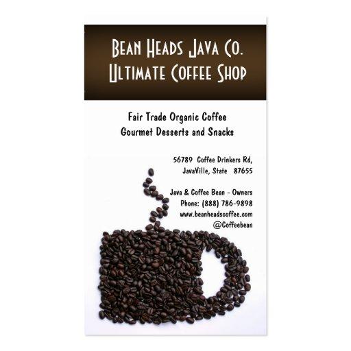 Coffee Beans Mug Shape Coffee Shoppe Business Card Template
