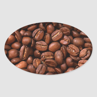 Coffee Beans Oval Stickers