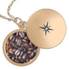 Coffee Beans - whole light and dark roasted Gold Plated Necklace