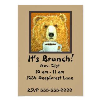 "Coffee Bear Brunch Invitations 5"" X 7"" Invitation Card"