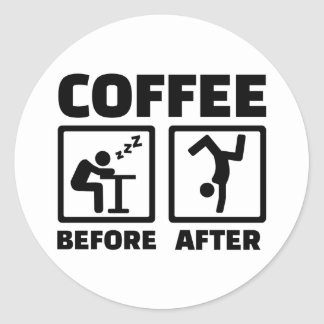 Coffee before after classic round sticker