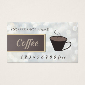Coffee bokeh loyalty punch-card business card