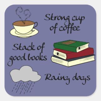 Coffee, Books & Rain - Change Colour Square Sticker