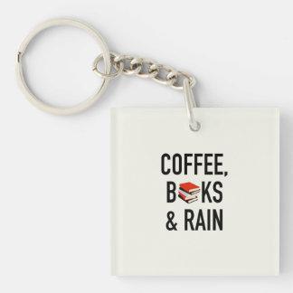Coffee, Books & Rain Key Ring