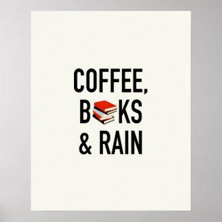 Coffee, Books & Rain Poster