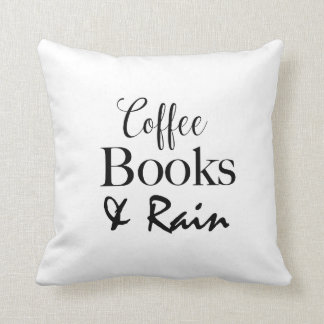 Coffee Books & Rain Throw Pillow