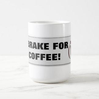 Coffee Brake Bumper Sticker on a Mug