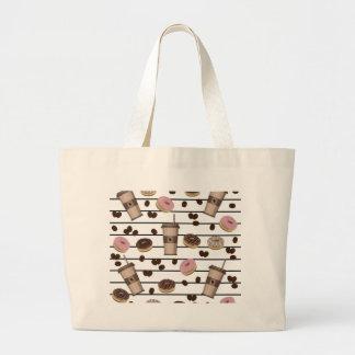 Coffee break pattern large tote bag