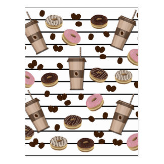 Coffee break pattern postcard