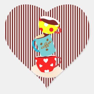 Coffee Break Stripes Heart Sticker