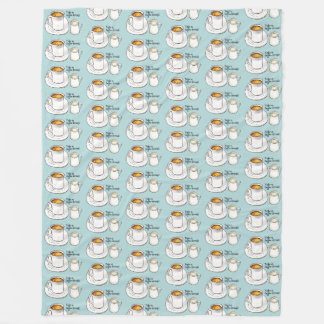 Coffee Break Watercolor and Ink Illustration Fleece Blanket