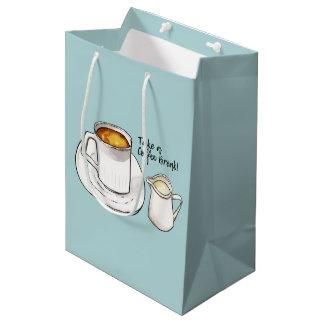 Coffee Break Watercolor and Ink Illustration Medium Gift Bag