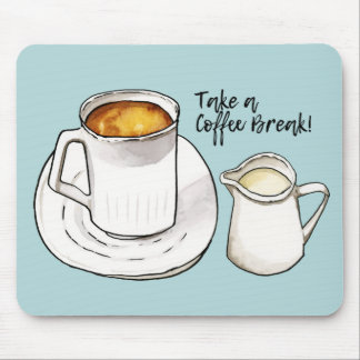 Coffee Break Watercolor and Ink Illustration Mouse Pad