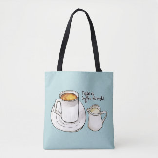 Coffee Break Watercolor and Ink Illustration Tote Bag