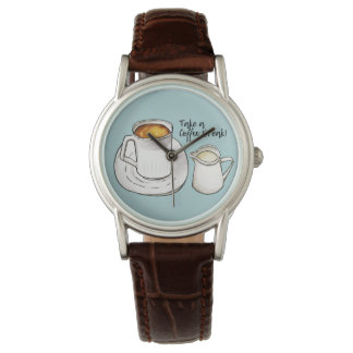 Coffee Break Watercolor and Ink Illustration Wrist Watch