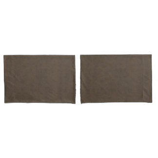 Coffee Brown Color Walnut Velvet Leather Look Pillowcase