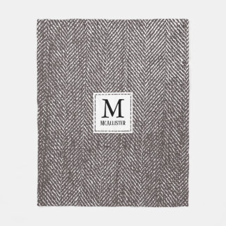 Coffee Brown Herringbone & Monogram Fleece Blanket